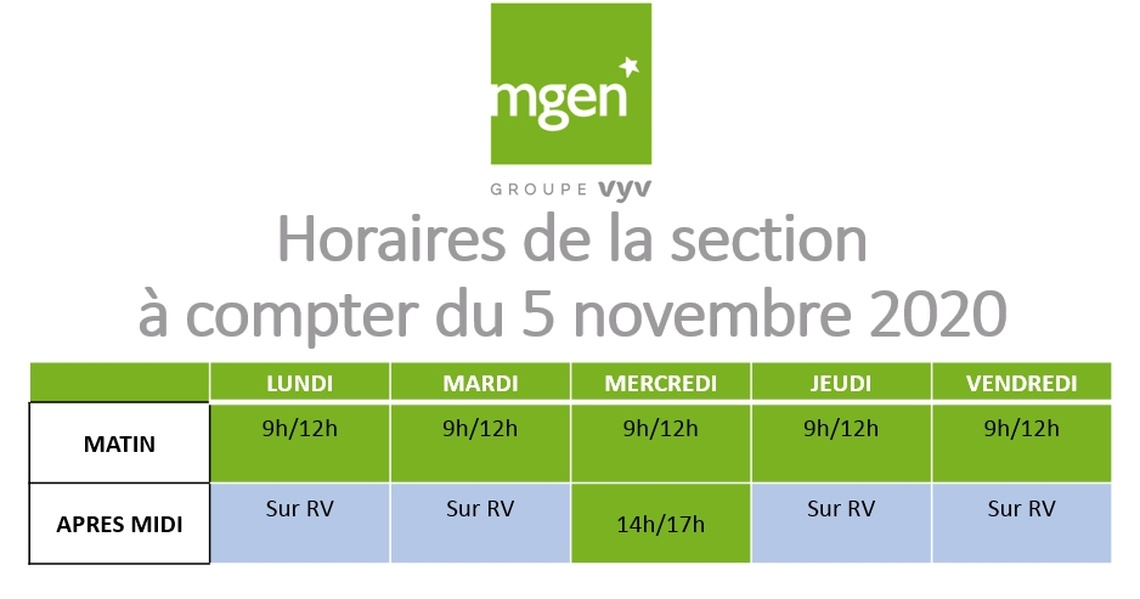 Section MGEN de l'Allier - Modifications des horaires de la section