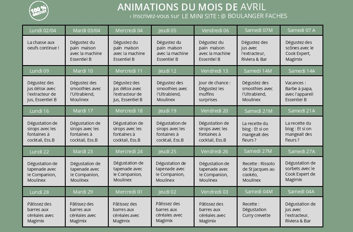 Animations Mois d'Avril